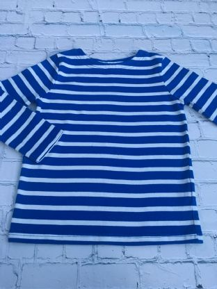 Mini Boden blue and white striped harbour top age 5-6